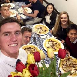 Crepes with the Elders. Aren't we so original, all with our banana & nuts. Shoutout to Elder Speiser for being the only unique one