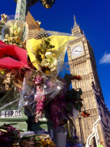 Stopped by Big Ben where there were flowers in memory of the attack on Westminster Bridge