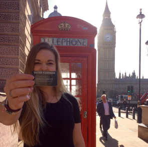 Can you ever have too many pictures with your name-tag, a telephone booth, and Big Ben?
